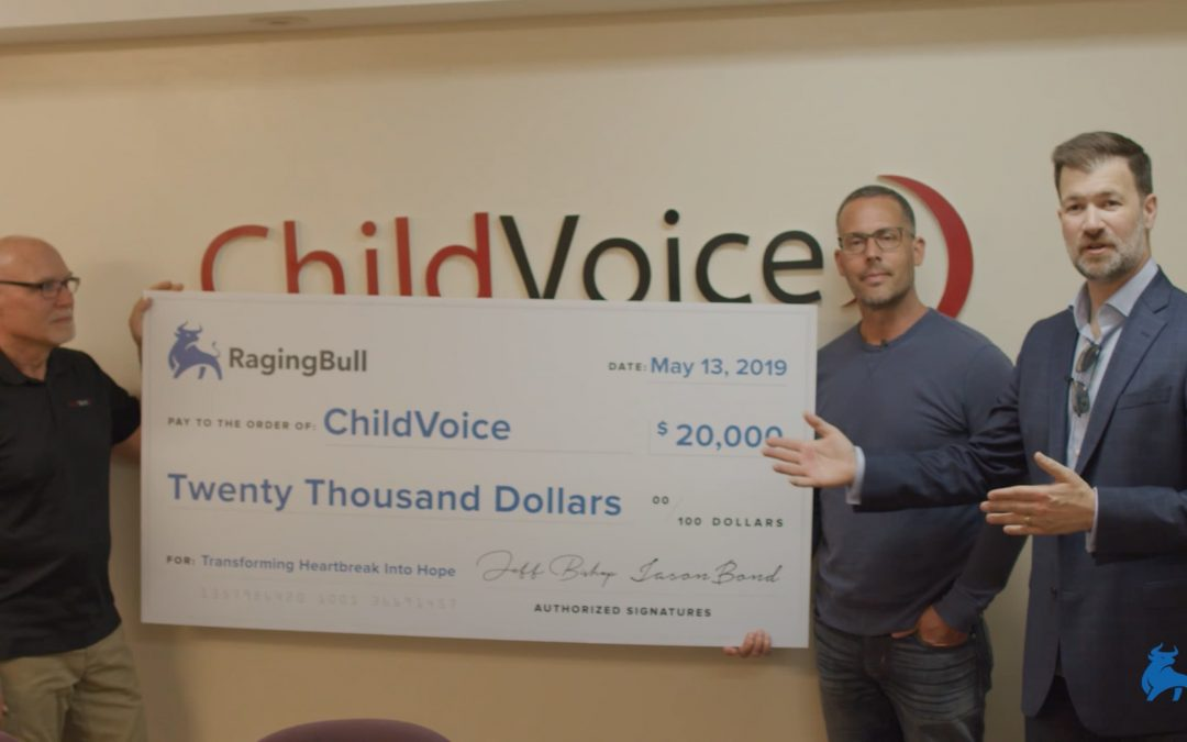 Giving Ragingbull childvoice donation check Uploaded ToChildVoice: $20,000 Donation