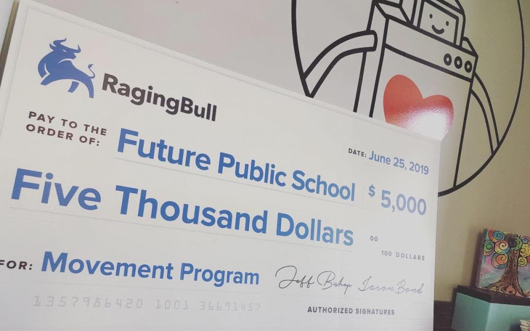 Giving Ragingbull Future Public school Donation check Future Public School